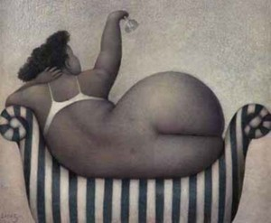 Jeanne Lorioz, fat woman, art
